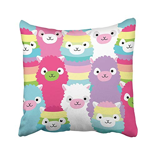 Emvency Decorative Throw Pillow Covers Cases Colorful Lama Alpaca Family Portrait Llama Baby Cute Rainbow Abstract America Animal 16x16 inches Pillowcases Case Cover Cushion Two Sided