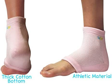 KidSole RX Gel Sports Sock for Kids with heel sensitivity from Severs Disease, Plantar Fasciitis. US Kid's Sizes 2-7 (Pink)