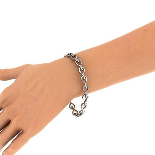18K Or Blanc, 0.217CT TW Round-cut-diamond (Ij| SI) Identification-bracelets
