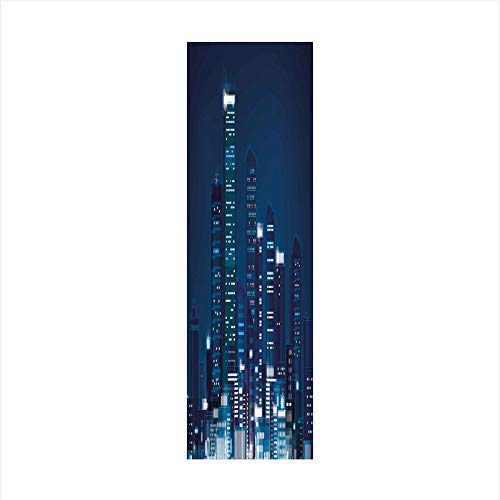 Decorative Window Film,No Glue Frosted Privacy Film,Stained Glass Door Film,Night View of Metropolis City with High Skyscrapers Downtown Business Center Image,for Home & Office,23.6In. by 59In Dark Bl ()