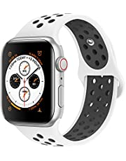 AdMaster Compatible with Apple Watch Band 38mm 40mm,Soft Silicone Replacement Wristband Compatible with iWatch Series 1/2/3/4 - S/M RedBlack/BlackVolt/AnthraciteBlack