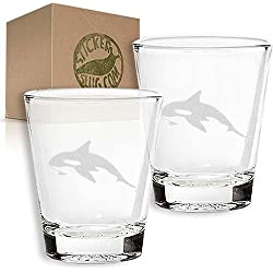 STICKERSLUG Killer Whale Etched Engraved Shot Glass Set