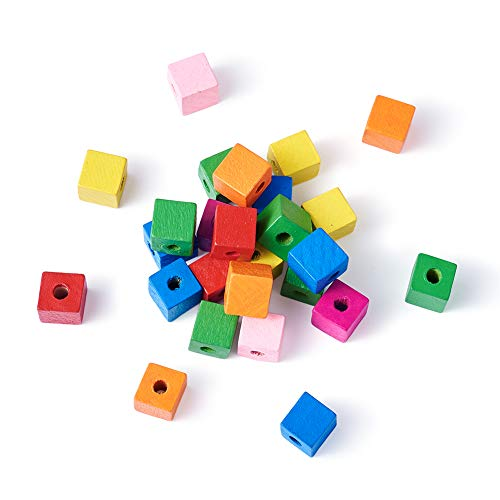 - Kissitty 50-Piece Random Mixed Color Cube Wood Beads 0.55x0.55