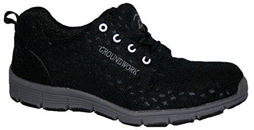 Groundwork Chaussures de sécurité à embout en acier ultra légères à lacets - noir - noir,