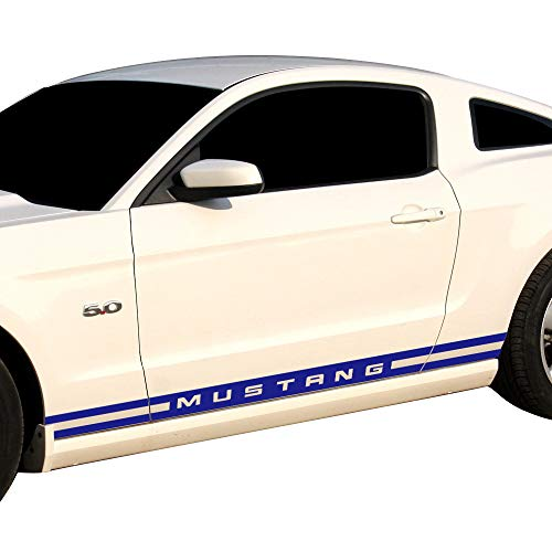 Charminghorse 2 Pieces Racing Rally Kit Stripes Vinyl Decal Graphic Stickers for Ford Mustang 2015 2016 2017 (Blue)