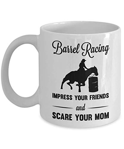 PixiDoodle Funny Cowboy Barrel Racing Coffee Mug (11 oz, White)