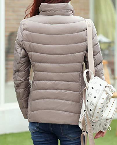 Down Khaki Plus Packable MogogoWomen Coat Stand Size Ultra Lightweight Collar ywAq4q0zE