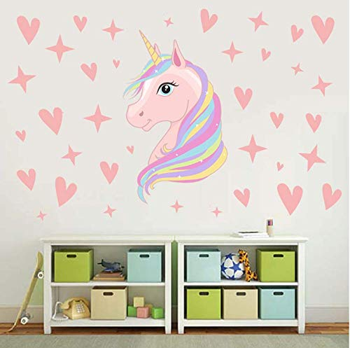 AIYANG Unicorn Wall Decals Stars Love Hearts Wall Stickers for Baby Girls Bedroom Playroom Decoration 6