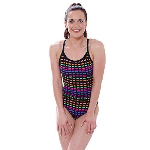 Zoggs Signature Check Sprint - Bañador de mujer, espalda deportiva Varios colores - Multi-Colour/Black