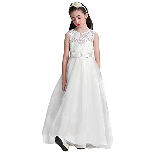ce Bridesmaid Wedding Dress with Bowknot Princess Prom Party Tulle Gown for 12-13(White) ()