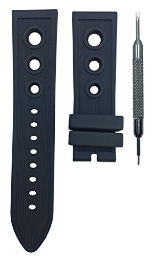 24mm Black Rubber Strap Watch Band for Breitling SuperOcean A13320 | Free Spring Bar Tool ()