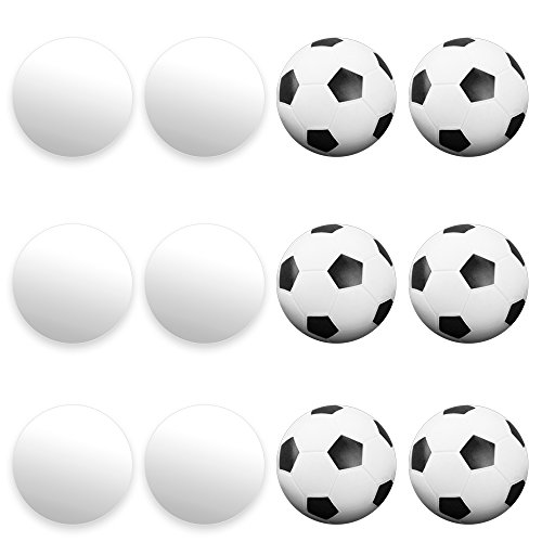 Foosball Soccer Table Action (12 Pack of Mixed Foosballs – for Standard Foosball Tables & Classic Tabletop Soccer Game Balls (6 Black & White Soccer) (6 Smooth White) by Brybelly)