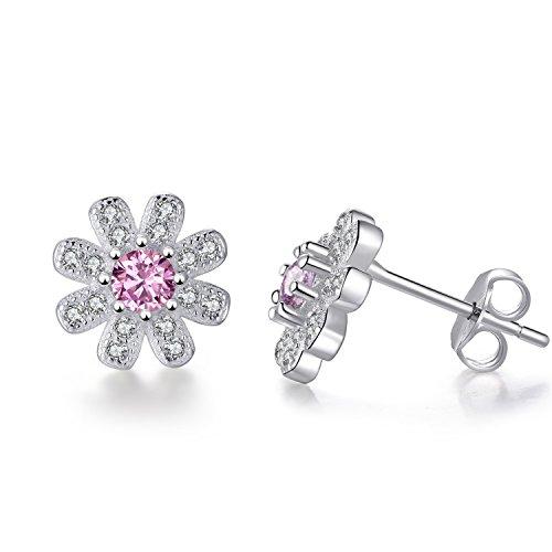 EVERU Flower Stud Earrings Sterling Silver, 4 Styles Options, Rose | Sunflower | Daisy | Lotus