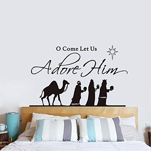 ponana O Come Let Us Adore Him Vinyl Quote Wall Decals Jesus Wise Men Decal Bedroom Window Decorative Decal Home Decor 54X94Cm