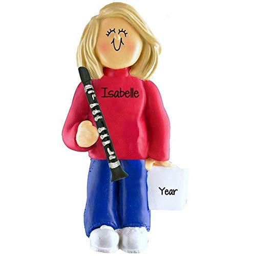 Clarinet Player Personalized Music Christmas Ornament Personalized Free (Female Blond Hair)