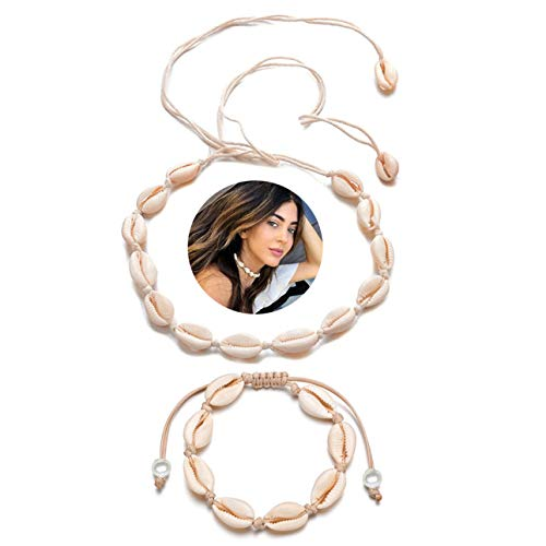 Spiritlele 2 Pack Pearl Shell Choker Necklace Set Cowry Beach Anklet Bracelet for Women