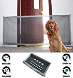 Magic Gate for Dogs Cat Portable Folding Safe Guard for Pet House Indoor Use Baby Safety Fence Retractable Mesh Gate Install