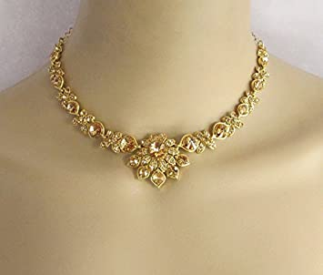 Amazon gold antique bridal wedding necklace rhinestones gold antique bridal wedding necklace rhinestones jewelry set with earrings indian bridal necklacebollywood junglespirit Gallery