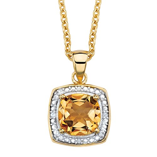 - Genuine Yellow Citrine and Diamond Accent 14k Gold Over .925 Silver Necklace 18