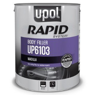 U-POL 6103 Rapid System Body Filler, Gray, 3L Tin