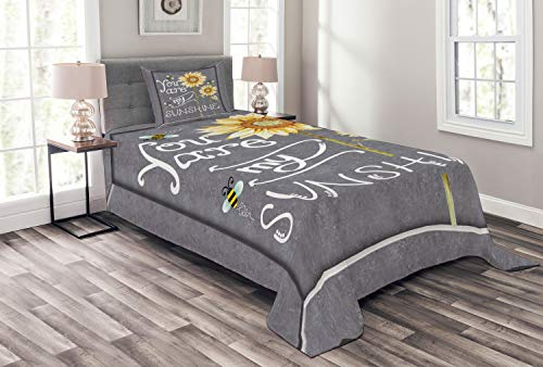 Lunarable You are My Sunshine Bedspread Set Twin Size, You are My Sunshine on Blackboard Bees Sunflowers Vintage Image, Decorative Quilted 2 Piece Coverlet Set with Pillow Sham, Yellow Grey ()