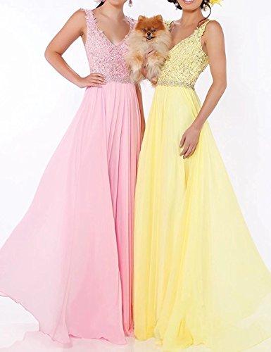 Ballkleider Brautjungfern Ausschnitt Brautkleid Lang Abendkleider Beyonddress Damen Hochzeit Lavendel Kleider V Chiffon Uxw8xZq6z