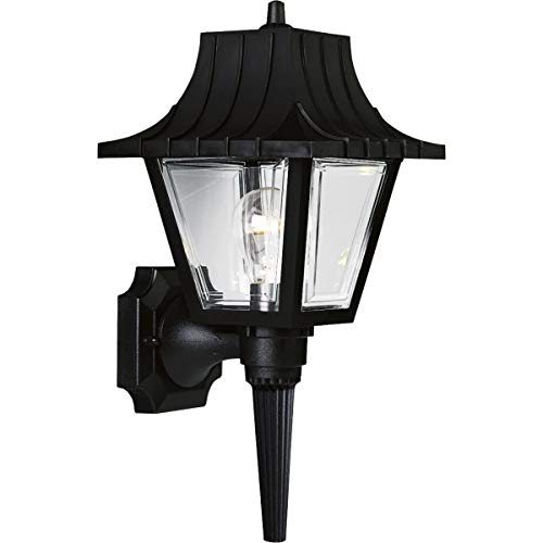 Progress Lighting P5815-31 Wall Torch with Ribbed Mansard Roof Beveled Clear Acrylic Panels, Black, 8-Inch Width x 17-Inch Height,