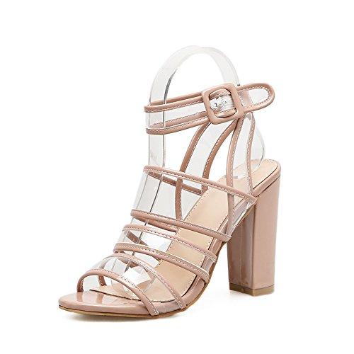 Ranurados para zapatos de mujer de verano europeo y americano expuesto gruesas con sandalias ultra-transparentes como zapatos boca de pescado de amarre ranurados los zapatos de tacón alto, beige 39