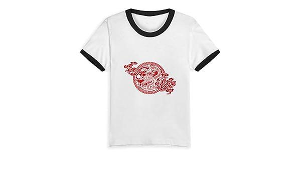 Queen Elena - Camiseta de Manga Corta con diseño de dragón Chino de 2 a 6 años con Estampado de Dibujos Animados para niños y niñas Negro Negro (3 años: Amazon.es: Ropa y accesorios