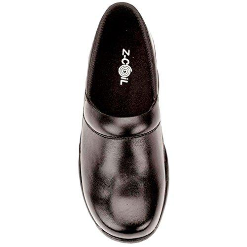 Z-CoiL Pain Relief Footwear Women's Toffler Slip Resistant Black Leather Clog Sandal Black big discount sale online XiWhaXV5