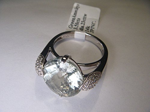 Unique Estate 14K White Gold Green Amethyst Pave Diamond (Gold Amethyst Estate Ring)