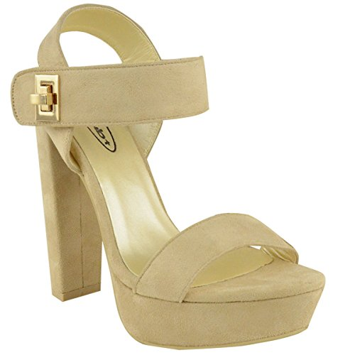 Fashion Thirsty Womens Chunky Strap Block High Heels Platform Party Sandals Open Toe Size 10