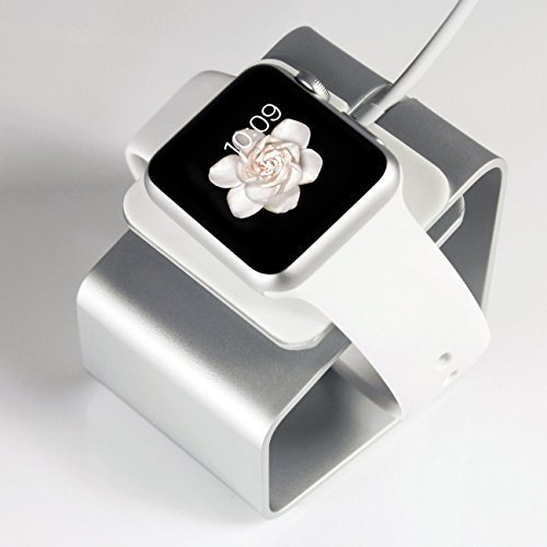 Basezip Stand Aluminum Build Cradle Holds Apple Watch **New** Comfortable Viewing Angle Easy Use Quick Connection for Apple Watch (2015) Fits All Versions & Sizes (38mm & 42mm Apple Watch in Sport, Basic and Edition Models) (Silver)