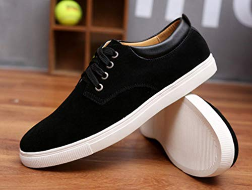 Femaroly Men's Skateboard Shoe Large Size Casual Suede Lace-up Breathable Leather Shoes Black 7.5M by Femaroly (Image #3)
