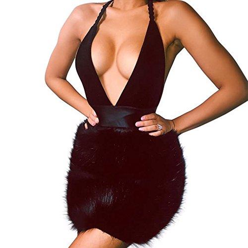 Yizenge Women's Deep V-neck Open Back Split Empire Luxury Plush Dress (M)