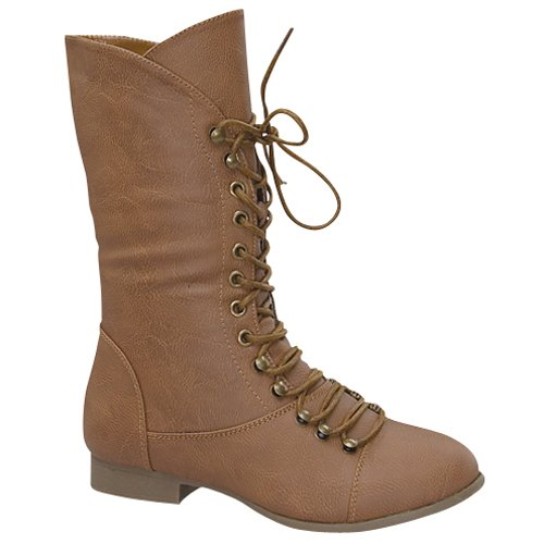 Top Moda COCO-7 Women's Mid Calf Military Lace Up Combat Boots, Color:TAN, Size:9