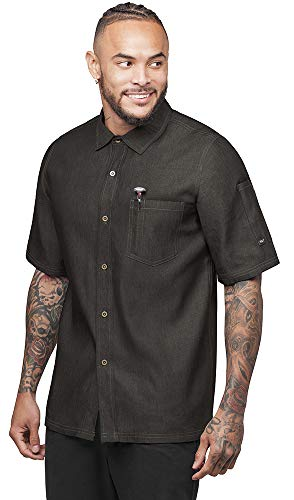 - Industry Line Men's Chambray Kitchen Shirt with Contrast Stitching (S-3X, 2 Colors) (Large, Black Chambray)