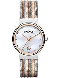 Women's 355SSRS Ancher Two Tone Silver and Rose Mesh Watch
