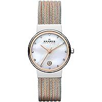 Skagen Women's 'White Label' Quartz Stainless Steel Dress Watch, Color:Rose Gold-Toned (Model: 355SSRS)