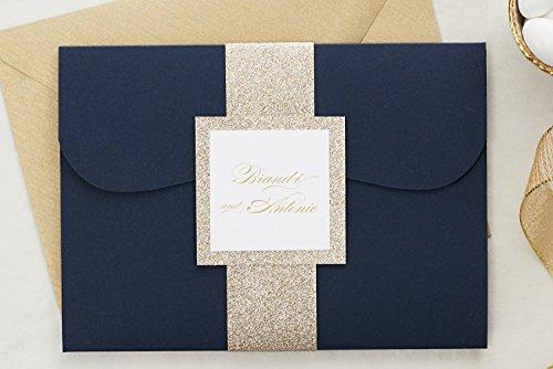 (Custom Elegant Wedding Invitations Set in Pocketfold, Glitter Wedding Set with RSVP, Brandi Sample)