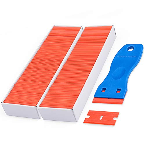 Plastic Razor Blades Scraper with 200 PCS 1.5 Inch Refillable Double Edged Razor - Edged Vinyl Cut