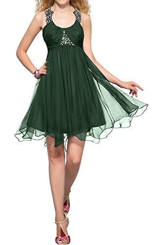 Promkleider Cocktailkleider Vintage Kurz Damen Abendkleider Rundkragen Grün Partykleider Chiffon Chiffon Ivydressing Neu T7pwxxq