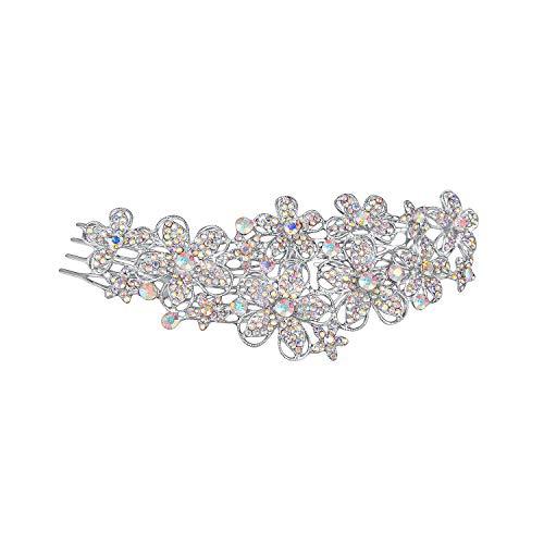 EVER FAITH Austrian Crystal Elegant Flower Cluster Hair Side Comb Iridescent Clear AB -
