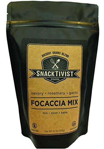 - Snacktivist Foods - Gluten-Free Rosemary Garlic Focaccia Bread Baking Mix - Vegan, Egg-Free, Dairy-Free, Non-GMO - 12 Ounce