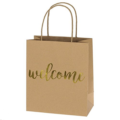 """Ling's moment Kraft Paper Bags Gift bags Gold Foil """"Welcome"""