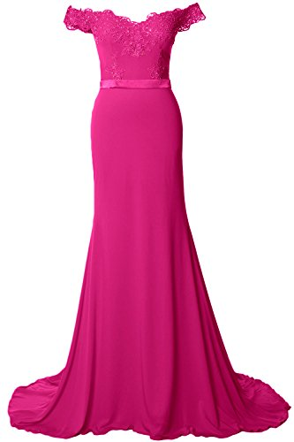 Formal Prom Gown Long the Evening Dress Off Shoulder MACloth Fuchsia Jersey Gorgeous 6qvnIzw