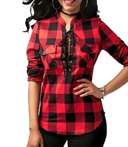 Femmes Blouses Manches Chemises Col Hauts Longues Shirts Tee Casual Bandage Tops V Rouge Chemisiers JackenLOVE Grille Mode Automne Printemps qZ4pE