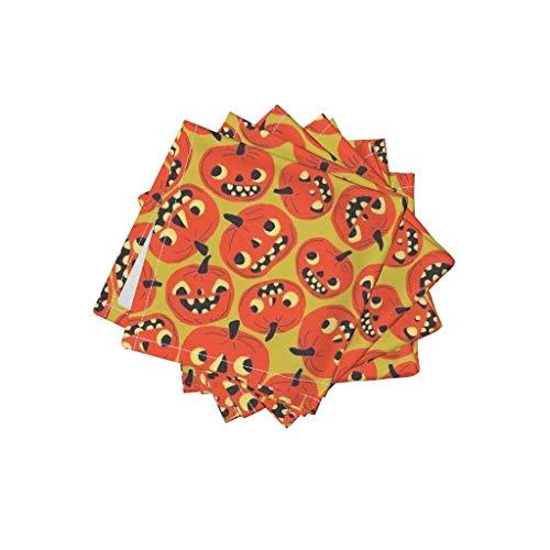Halloween Linen Cotton Cloth Cocktail Napkins - Jack O Lantern Pumpkin Sf926hal13 Sfaut15 by Heidikenney (Set of 4) 10 x 10in