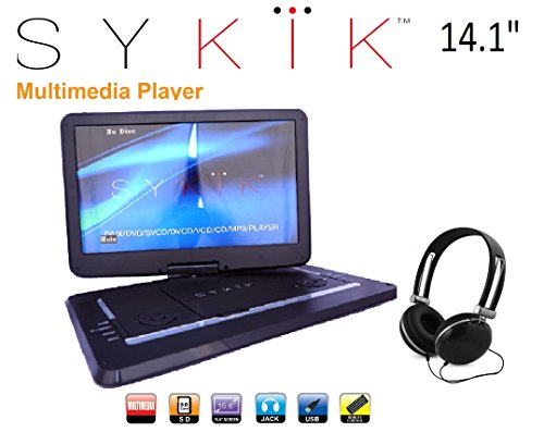 Sykik SYDVD0133 14.1'' Inch All multi region zone free HD swivel portable dvd player,USB,SD card slot with headphones, Ac adaptor ,car adaptor Remote control (one year waranty) Black (Dvd Portable Player Free Region)