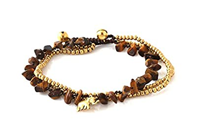 MGD, Dark Brown Tiger Eye Color Bead and Brass Bell Anklet. 3-strand Elephant Anklets Beautiful Handmade Brass Anklet. Small Anklets. Ankle Bracelet. Fashion Jewelry for Women, Teens Girls, JB-0283A